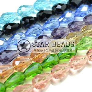FACETED TEARDROP CRYSTAL GLASS BEADS PICK COLOUR - 5X7 8X11 10X15 12X18MM