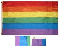 3x5 Embroidered Gay Lesbian Rainbow LGBT Pride Sewn Stripes Nylon Flag grommets