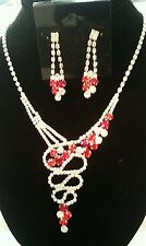 MODERN Swirl Red Rhinestone Drop Necklace and Earring Jewelry Set
