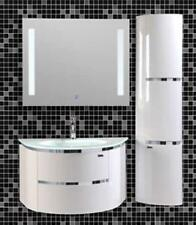High Gloss Bathroom Vanity Wall Hang Sink with LED Mirror & Side Cabinets-020w