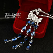 Luxury Vintage Blue Cubic Zircon Tail Pendant Peacock Necklace Long Chain MY350