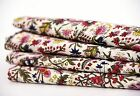 2.5 Yard Indian Hand Block Print Fabric 100% Cotton Natural Dyed Floral Fabric