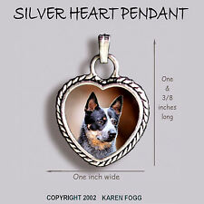 Australian Cattle Dog Black - Ornate Heart Pendant Tibetan Silver