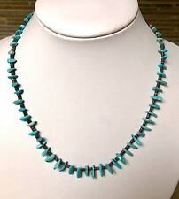 Santo Domingo Turquoise Olive Shell Sterling Necklace - Jeanette Calabaza 17.5""