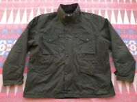 Barbour Sapper Waxed Cotton Olive Green Quilt Lined Jacket Men's Size XXL Nice!