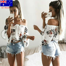 Womens Boho Floral Off Shoulder Strapless T-Shirt Summer Casual Loose Top Blouse