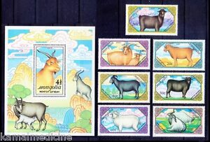 Goats, Domestic Animals, Mongolia 1988 MNH 7v+SS