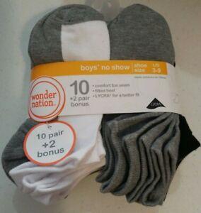 Wonder Nation Boy's 12 Pair No Show Socks Choose Color Sizes S, Med, Lg