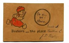 Vintage Leather Postcard BOSTON'S THE PLACE MA dutch boy wooden shoes