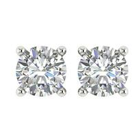 Solitaire Stud Earrings White Gold Natural Round Cut Diamond SI1 G 0.75 Carat