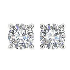 627580e5c Solitaire Stud Earrings White Gold Natural Round Cut Diamond SI1 G 0.75  Carat