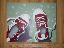 "16""x 20"" Acrylic Painting on Canvas, Red Tennis Shoes, Sneakers, Dorm Room Decor"
