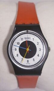 Swatch Chrono Tech Watch Lb104 Red Band Black Plastic Case White Face Lady 1984