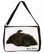 Miniature Black Poodle 'Yours Forever' Large Black Laptop Shoulder B, AD-POD9ySB