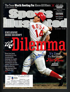 Pete Rose Autographed Signed Sports Illustrated Magazine Reds Beckett S76298