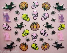Halloween Nail Art Stickers Decals Glitter Bats Ghosts Pumpkins Witch Witches
