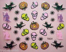 Halloween Arte De Uñas Stickers Calcomanías Brillo murciélagos Fantasmas Pumpkins Bruja Brujas 02