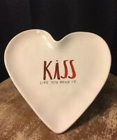 """Rae Dunn """"KISS"""" Valentine's Heart Plate Pottery Artisan Collection"""