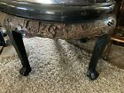 """Chinese Oval Coffee Table Deeply Carved Scene Glass top 48"""""""
