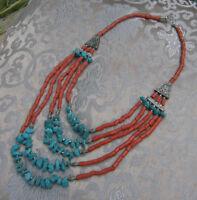 Sehr schöne mehrreihige Kette aus NEPAL: Koralle + Türkis + Beads