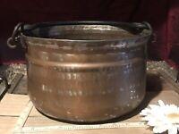 """Antique Vintage Copper Cauldron Kettle Pot Forged Iron Handle 12 1/2""""x6 1/2"""""""