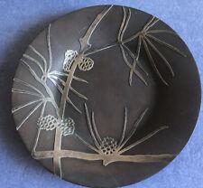 Antique Art Nouveau Mixed Metal Art Dish, Cupper With Silver Appliqué