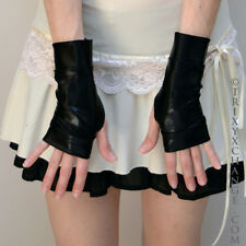 Adult Black Vinyl Gloves PVC Fingerless Anime Gothic Fetish Cosplay Costume 1006
