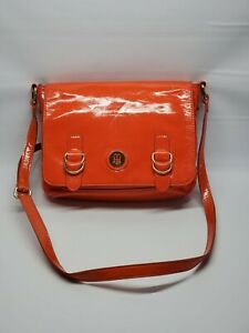 Tommy Hilfiger Women's Orange Patent Leather Crossbody purse 680