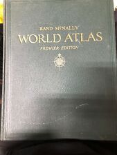 1947 Rand Mcnally world Atlas Premier Edition vintage antique book used green