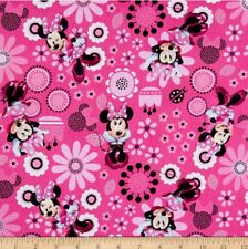 """Disney MINNIE MOUSE Bowtique Pink 100% Cotton Fabric By HALF a METRE W44"""""""