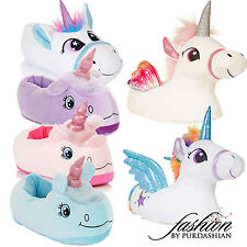 Womens Ladies Girls Unicorn Novelty Slippers 3D Magical Rainbow Fluffy Warm Gift
