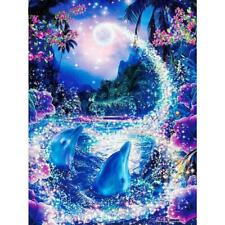 5D DIY Full Drill Diamond Painting Dolphin Cross Stitch Embroidery Mosaic