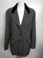 ST MICHAEL Vintage Size 16 GREY 100% WOOL TWEED Lined VELVET Collar JACKET