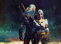 WITCHER WILD HUNT GAMERS PRINT HANDPAINTED LIMITED EDITION #1 of 50 CANVAS PRINT