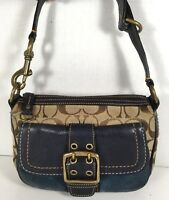 Coach Small Signature Brown Shoulder Bag Blue Leather/Suede Trim Brass Tone HW