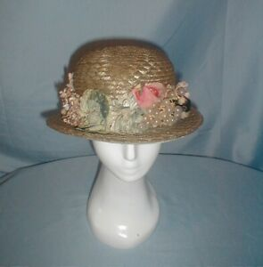 Vintage Hat 1920's Flapper Green and Tan Straw Hat Floral Trim