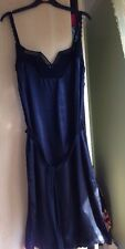 Womens 1920's black crochet trim silk dress size S, UK 8