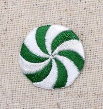 Small/Mini - Peppermint Candy - Green/White - Embroidered Patch/Iron on Applique