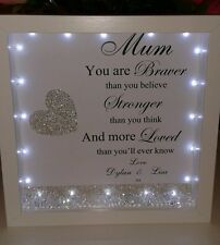 Personalised mum/ mam 3D box frame  gift with lights, diamantes & crystals