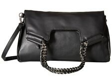 Pre-Owned Carlos by Carlos Santana Chelsea Fold-Over BlackClutch Shoulder Bag