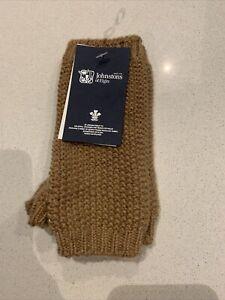 Johnstons Of Elgin Cashmere Wrist Warmer Beige Glitter Knitted Ladies Glove