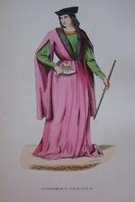 GRAVURE-GENTILHOMME COUR DE LOUIS XII-COSTUMES MOYEN AGE 1847-ANTIQUE  PRINT