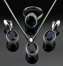 925 Silver SAPPHIRE BLUE Crystal Earrings Necklace Ring SIZE 7 Jewelry Set GIFT