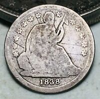 1838 Seated Liberty Dime 10c No Drapery Ungraded Good Date US Silver Coin CC6748