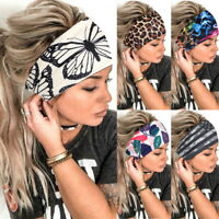 Women Boho Wide Elastic Stretchy Fitness HairBand Running Headband  Sports US