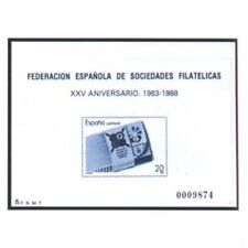ESPAÑA SPAIN PRUEBA DE LUJO EDIFIL Nº 16 FESOFI 1988 SOCIEDADES FILATELICAS