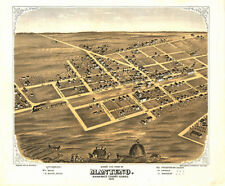 Manteno Illinois panorama c1869 map 14x12