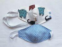 Kinder Behelfsmaske Mund Maske 2-lagig+Filterfach 100% Leinen wiederverwendbar