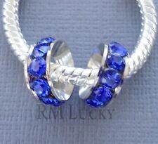 2pcs Crystal Spacer European Charm Large hole Bead. Fits Bracelet C186