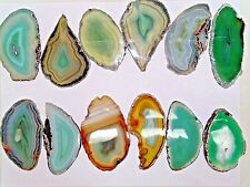 """BULK  POLISHED DYED GREEN  AGATE SLICES 2.8""""- 3.8"""" LONG   - 12 PC.LOT"""